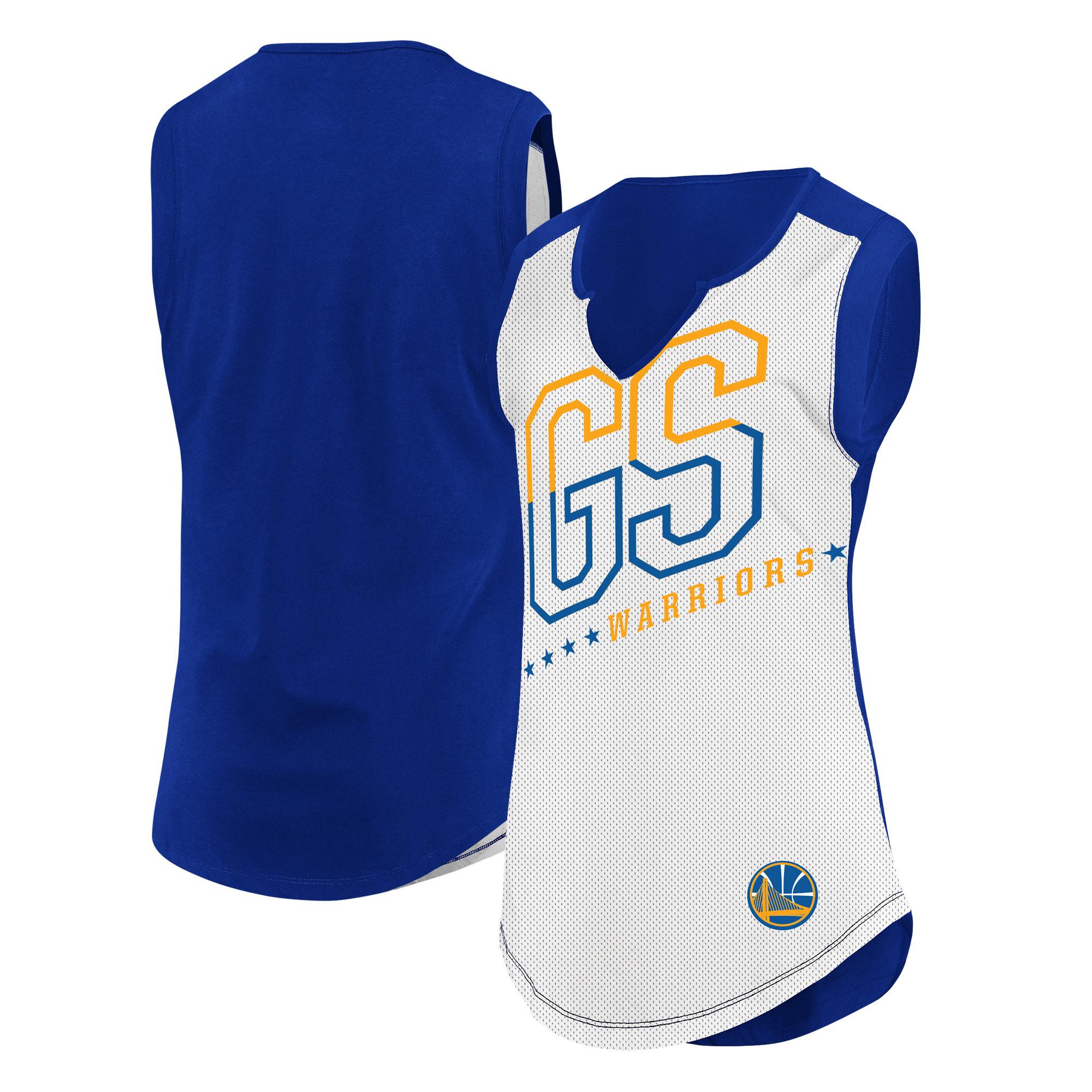 Golden State Warriors Majestic Women's Relevant Play Sleeveless T-Shirt - White/Royal