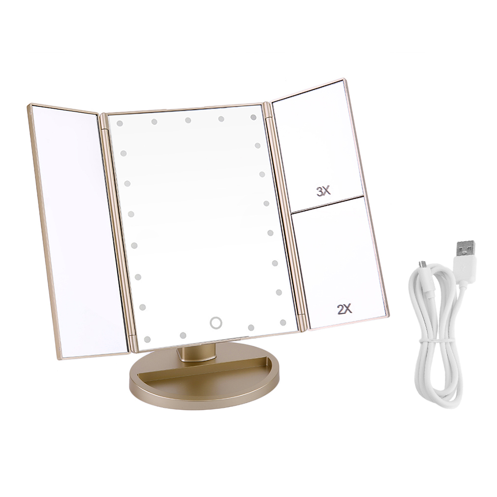 21 LED Lights Touch Screen 3x Makeup Mirror Cosmetic Tabletop Vanity Mirror