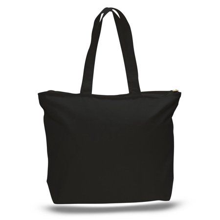 Black Canvas Tote Bag ((6 Pack) Set of 6 Heavy Canvas Large Tote Bag with Zippered Closure)