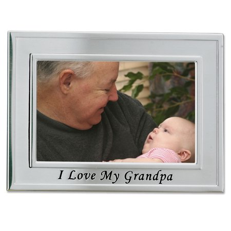 Brushed Metal 4x6 I Love My Grandpa Picture Frame - Sentiments Collection (I Love My Cousin Picture Frame)