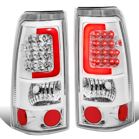For 1999 to 2003 Chevy Silverado / GMC Sierra Pair of 3D LED Tail Brake Lights (Chrome Housing Clear Lens) 00 01 02 Accent 00 01 02 Tail