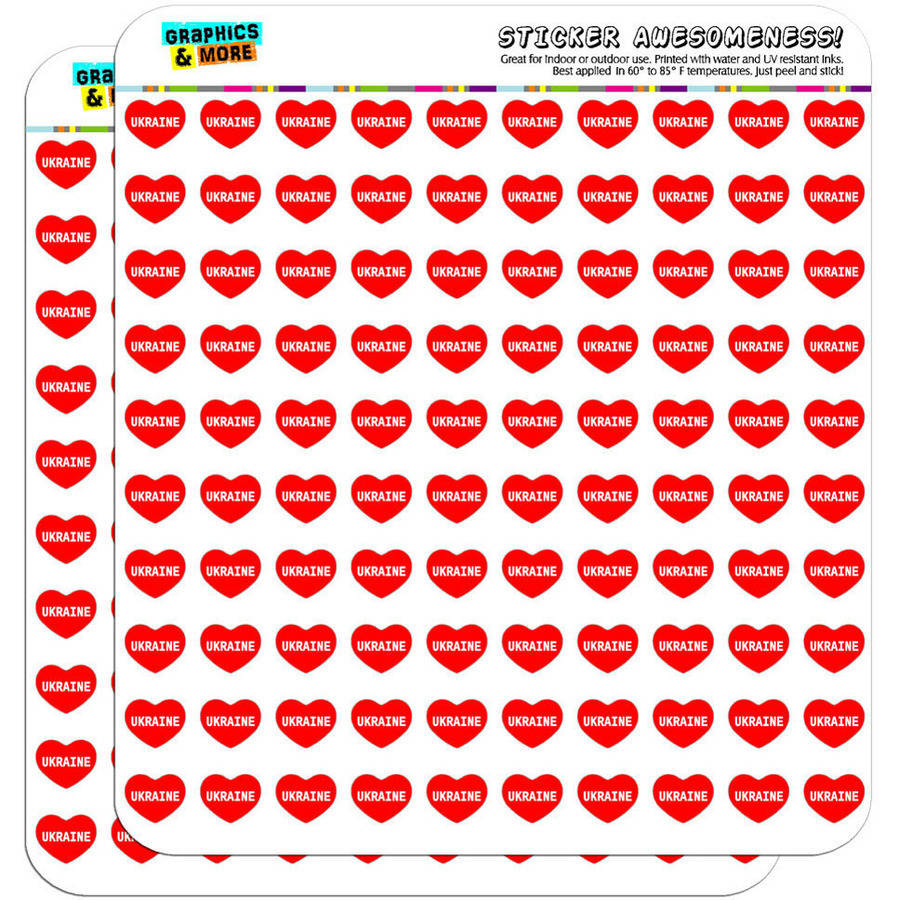 "I Love Heart Ukraine 200 1/2"" (0.5"") Planner Calendar Scrapbooking Crafting Stickers"