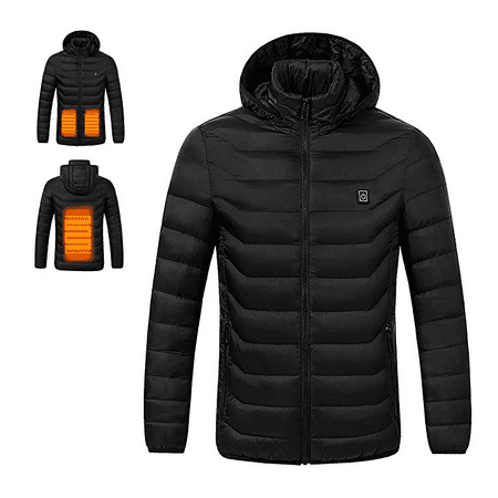 Fitted Riding Jacket (Men's USB Charging Electric Heated Coat Soft Lightweight Hooded Jacket Thermal for Outdoor Hiking Riding)