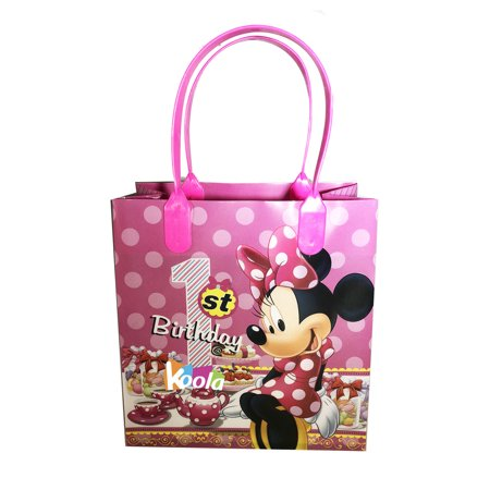 1st Birthday Party Loot Bags - Disney Minnie Mouse 1st Birthday Party Loot Bags Birthday Goody Fun Gift Bag for all-pink 1pcs