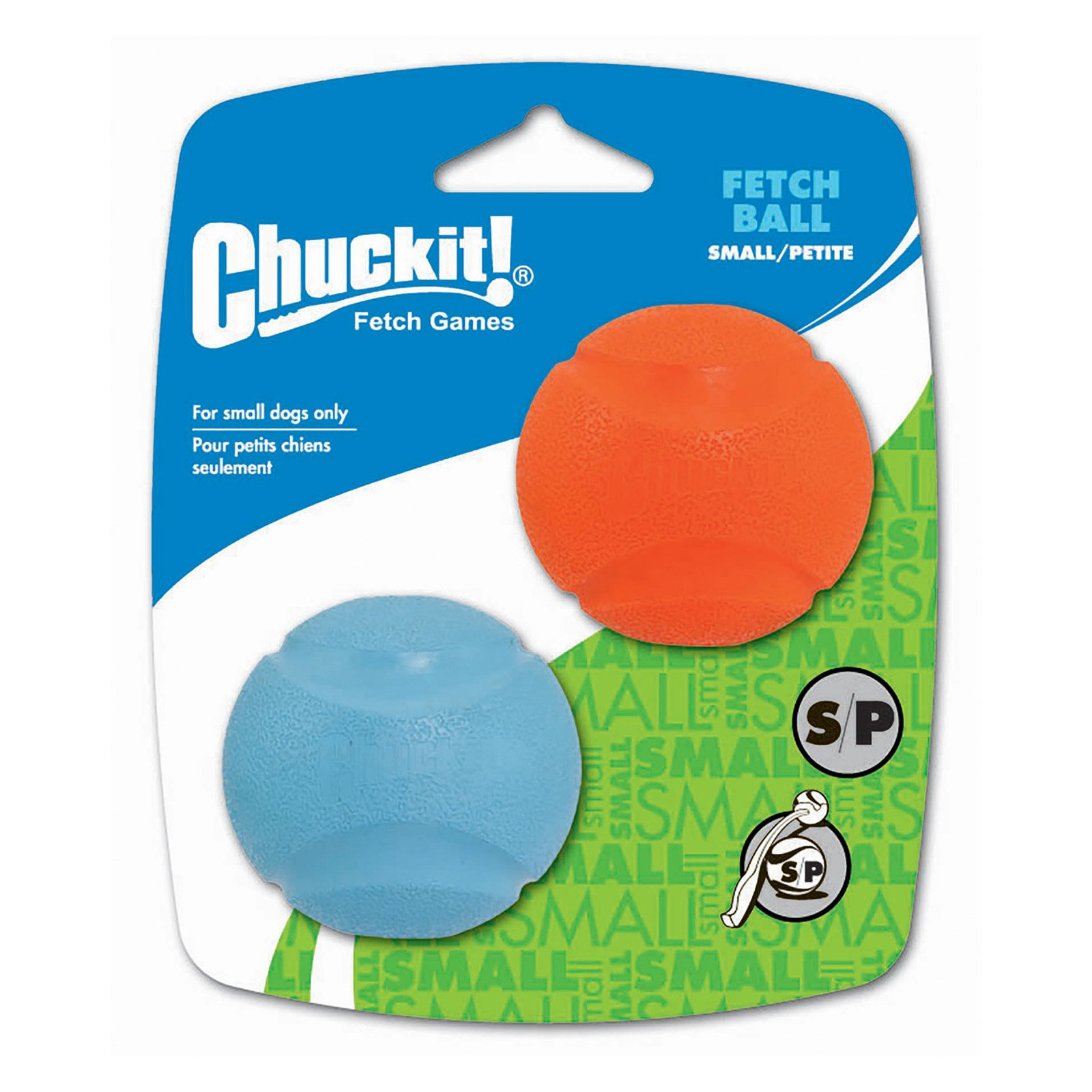 Chuckit! Fetch Ball Small Dog Toy, 2 Pack (Color may vary)