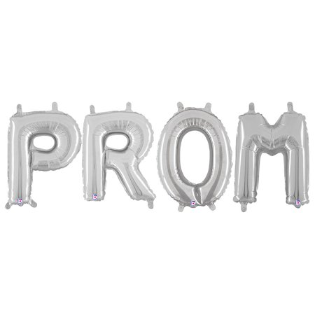 Prom Foil Letter Balloons, Silver, 14in - Discount Prom Decorations