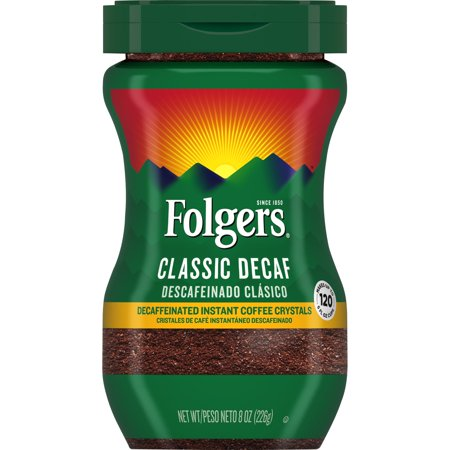 Folgers Decaffeinated Instant Coffee Crystals Classic Decaf, 8-Ounce