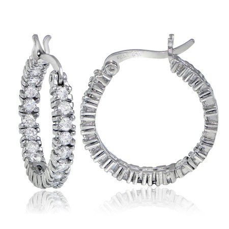 White Enamel 18k Gold Overlay - ICZ Stonez  18k Gold overlay/Sterling Silver Inside-Out CZ Hoop Earrings White