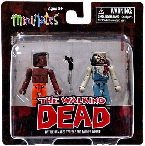The Walking Dead Minimates Series 3 Battle Damaged Tyreese and Farmer Zombie Mini-Figure 2 pack