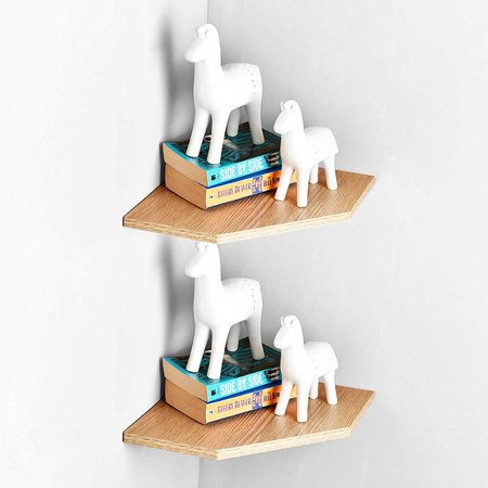 WELLAND Set of 1 Corner Ledge Shelf and Display Floating Shelves 11 1/2 inch by 11 1/2-inch.Wall Mounted Floating Shelf for Bedroom,Living Room,Study Room and Kitchen Room.