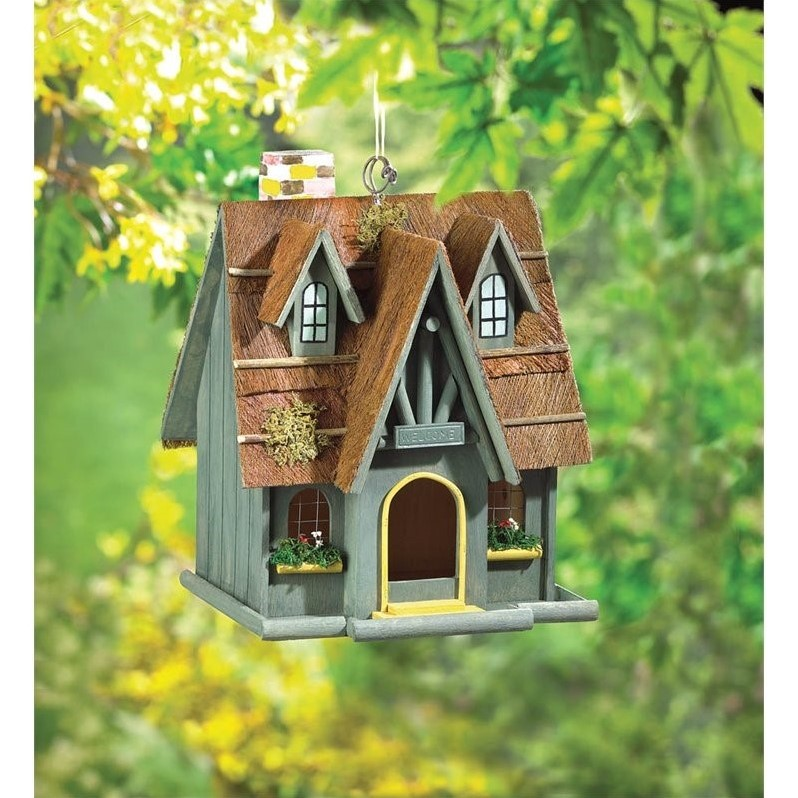 Zingz and Thingz Thatch Roof Chimney Birdhouse by Zingz & Thingz