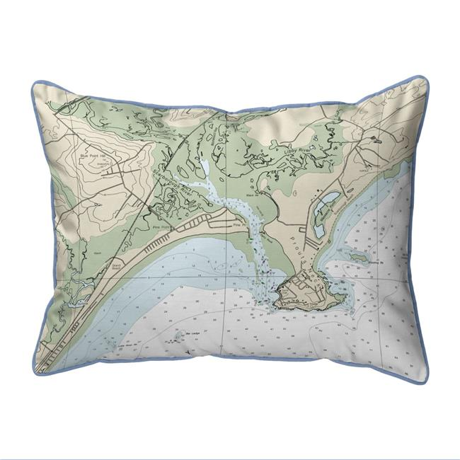 Betsy Drake ZP13287PPLB Pine Point, ME Nautical Map - Light Blue Cord Extra Large Zippered Indoor & Outdoor Pillow - 20 x 24 in. - image 1 de 1