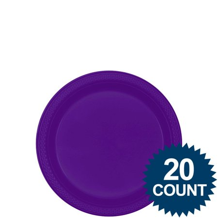 """Purple 7"""" Plastic Cake Plates (20 Pack) - Party Supplies"""