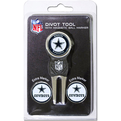 Team Golf NFL Dallas Cowboys Divot Tool Pack With 3 Golf Ball Markers