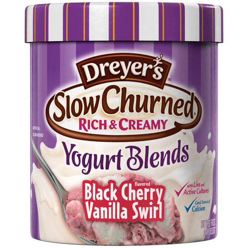 Dreyer's/Edy's: Slow Churned Rich & Creamy Yogurt Blends Black Cherry Flavored Vanilla Swirl Slow Churned Yogurt Blends, 1.5 Qt