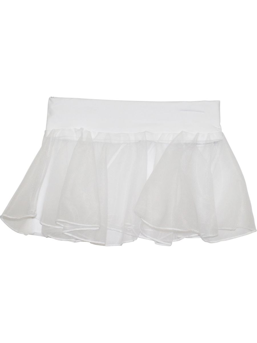 Girls White Solid Color Stretch Waistband Dancewear Chiffon Skirt