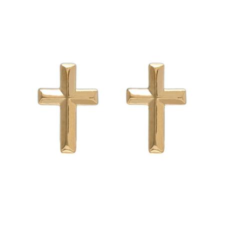 - 14kt Yellow Gold Cross Stud Earrings