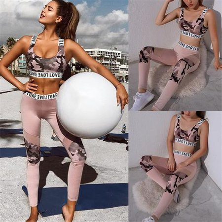 2PCS Women's Camouflage Print Sport Wear Vest Tank Top Long Trousers Outfit Set Hollow Grenadine Vest for Running / Training / Yoga (Pokemon Trainer Jacket)