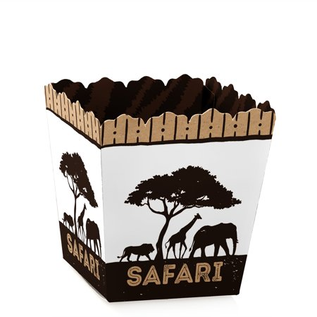 Wild Safari - Party Mini Favor Boxes - African Jungle Adventure Baby Shower or Birthday Party Treat Candy Boxes - Set of - Leaf Safari Adventure