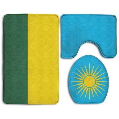 EREHome Rwanda Large Flag 3 Piece Bathroom Rugs Set Bath Rug Contour Mat and Toilet Lid Cover - image 1 de 2