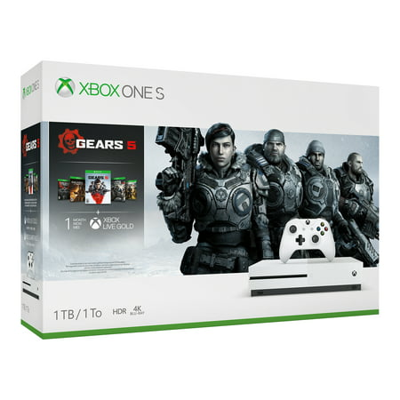 Microsoft Xbox One S 1TB Gears 5 Bundle, White, 234-01020