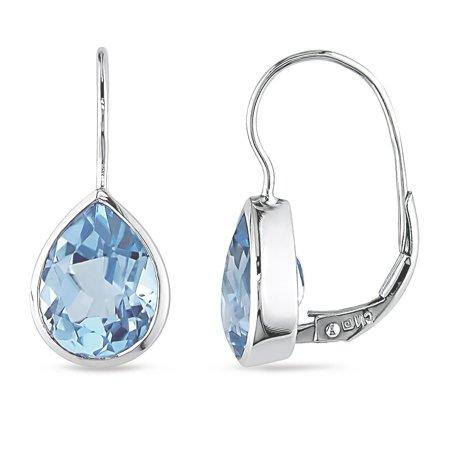 10k White Gold Blue Topaz Leverback Earrings