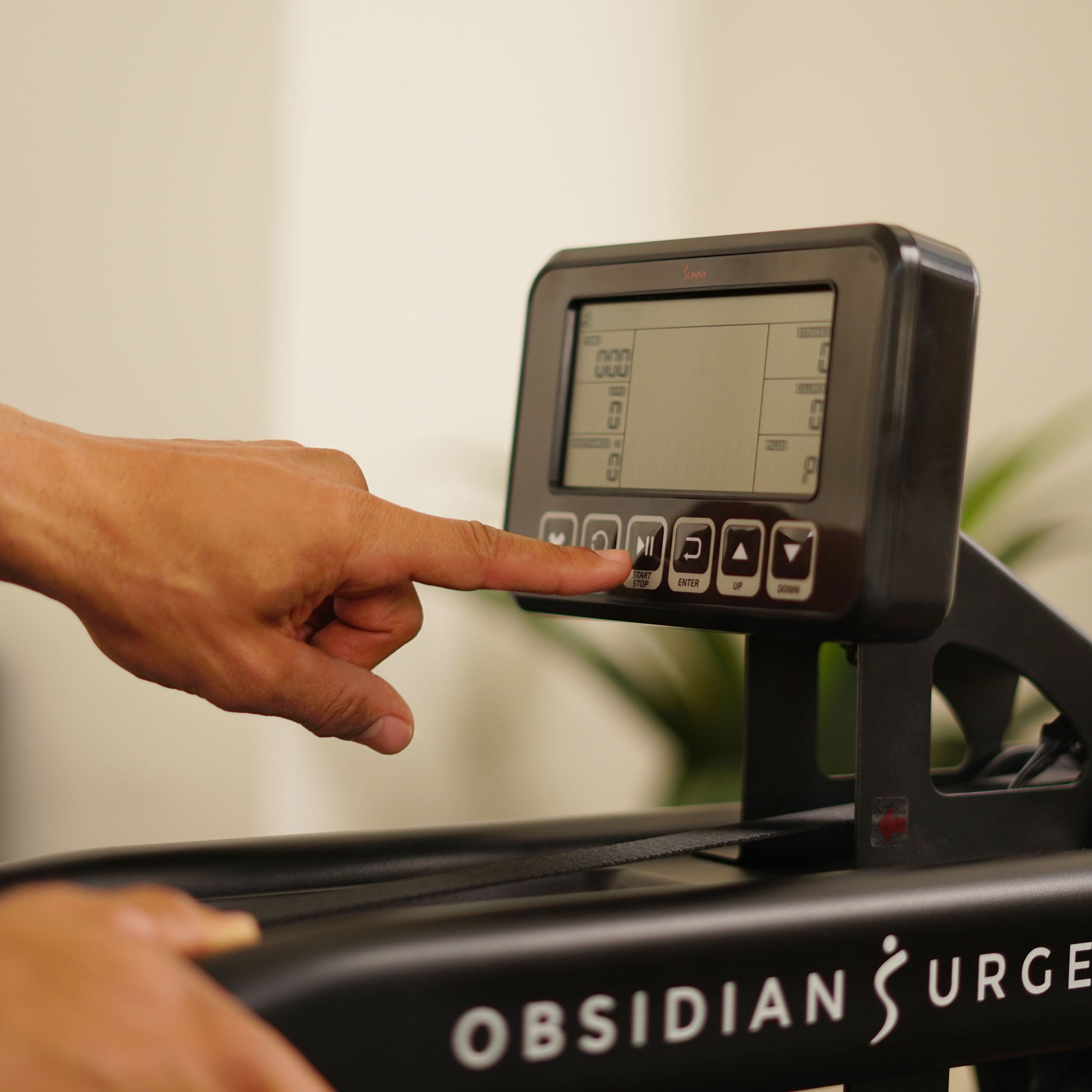 Sunny Health & Fitness Obsidian Surge Water Rowing Machine Sf-rw5713
