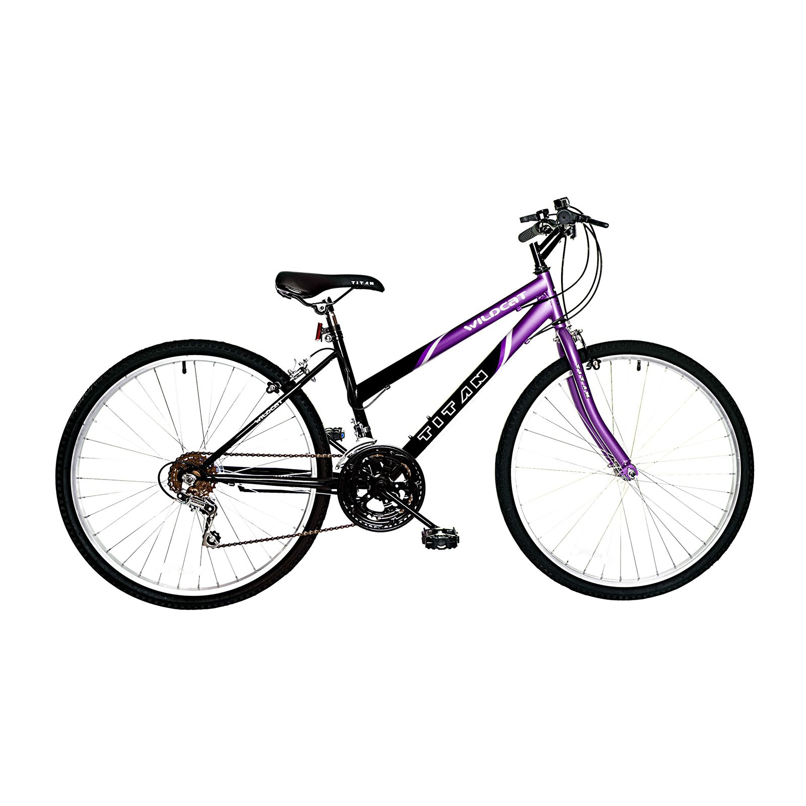 TITAN Wildcat 12-Speed Women's Mountain Bike, Purple & Black