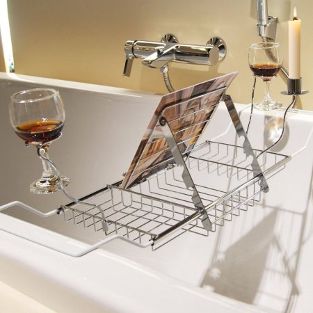 Knifun Stainless Steel Extendable Bathtub Caddy Tray for Soap, Over Bath Tub Rack Wine Glass Holder, Shower Book Holder Storage Organizer with Extending Sides, Adjustable 24.4 -33.46  Wide