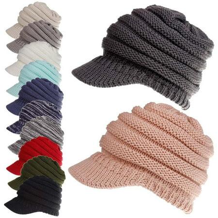 Urkutoba - Women s Stretch Knit Hat Messy Bun Ponytail Beanie Winter Warm Hole  Hat - Walmart.com 5c805bef246