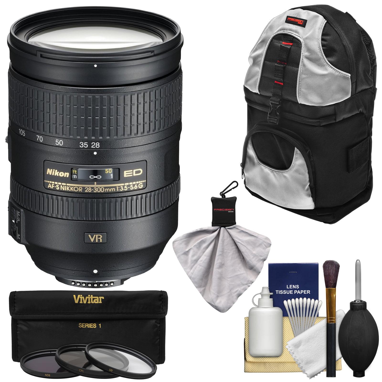 Nikon 28-300mm f/3.5-5.6 G VR AF-S ED Zoom-Nikkor Lens + 3 Filters + Sling Backpack Kit for D3200, D3300, D5300, D5500, D7100, D7200, D750, D810 Camera