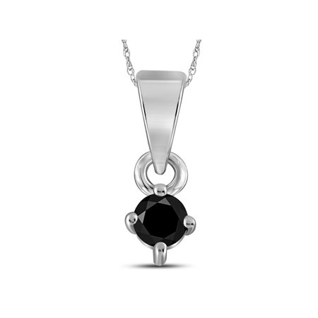 10kt White Gold Womens Round Black Color Enhanced Diamond Solitaire Pendant 1/8 Cttw - image 1 de 1