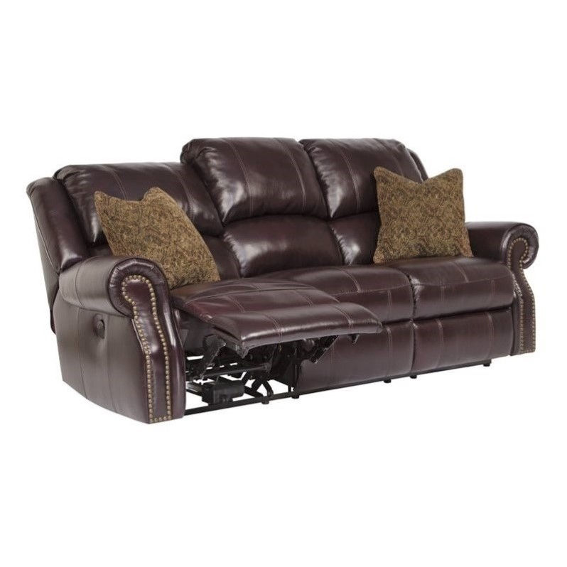 ashley walworth leather power reclining sofa in blackcherry - Power Recliner