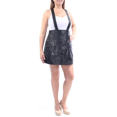 - GUESS Womens Black Faux Leather Beaded Suspender Square Neck Mini ALine Party Skirt  Size: 12