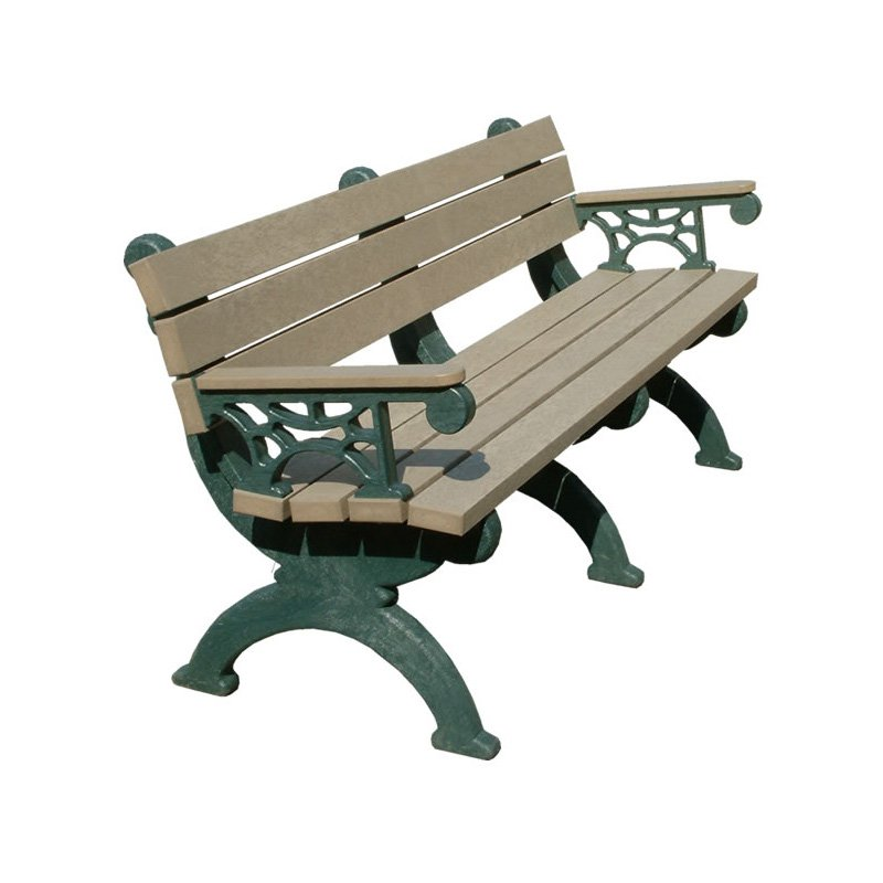 Polly Products Monarque Recycled Plastic Backed Bench with Arms
