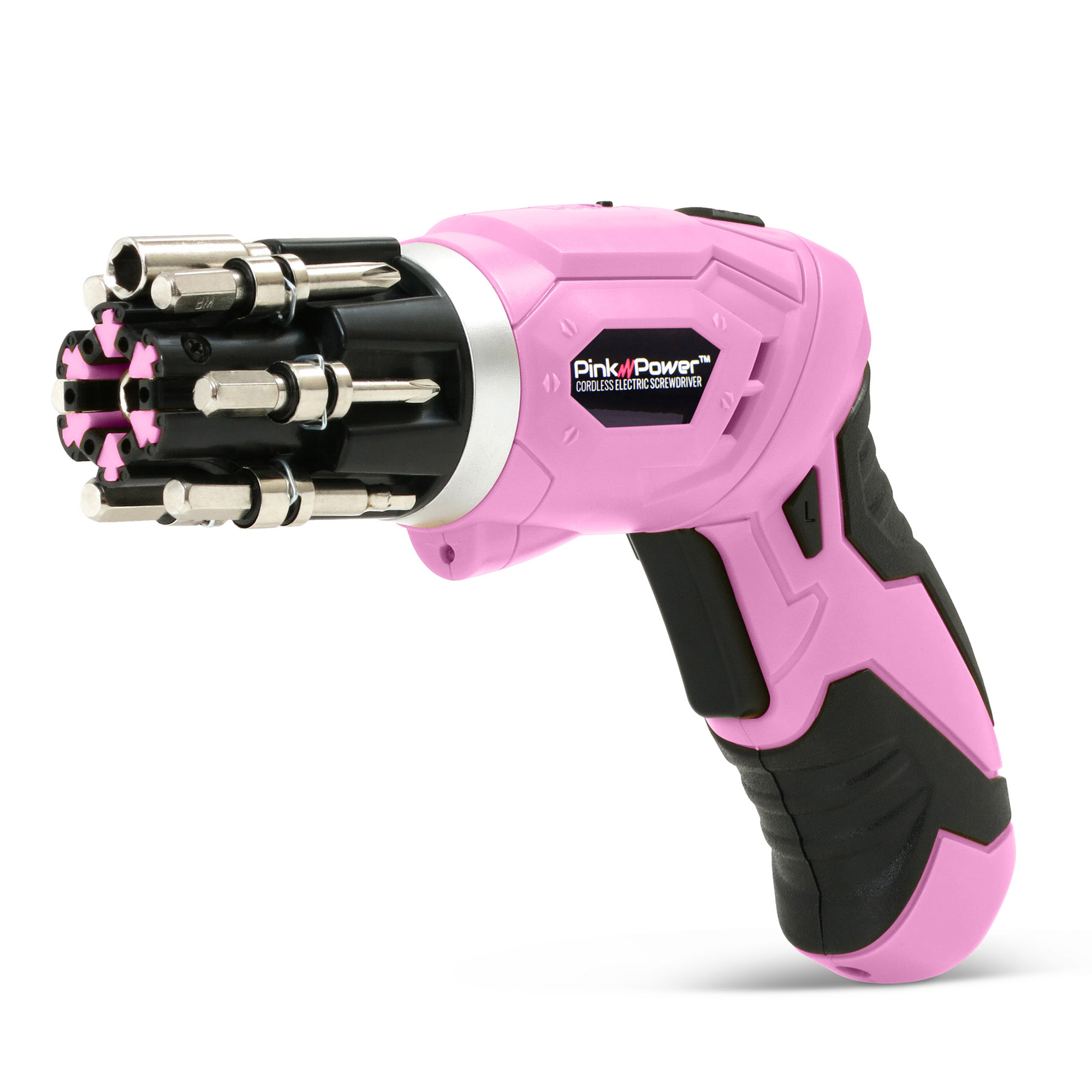 Pink Power 3.6 Volt Rechargeable Cordless Electric Screwdriver Kit with Built-in Bit Set and Bubble Level