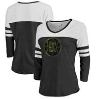 LA Clippers Fanatics Branded Women's Prestige Camo 3/4-Sleeve Raglan T-Shirt - Black