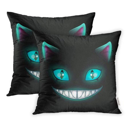 EREHome Blue Smile Fantasy Scary Smiling Cat Face on Cheshire Alice Pillowcase Cushion Cases 18x18 inch Set of 2 - image 1 of 1