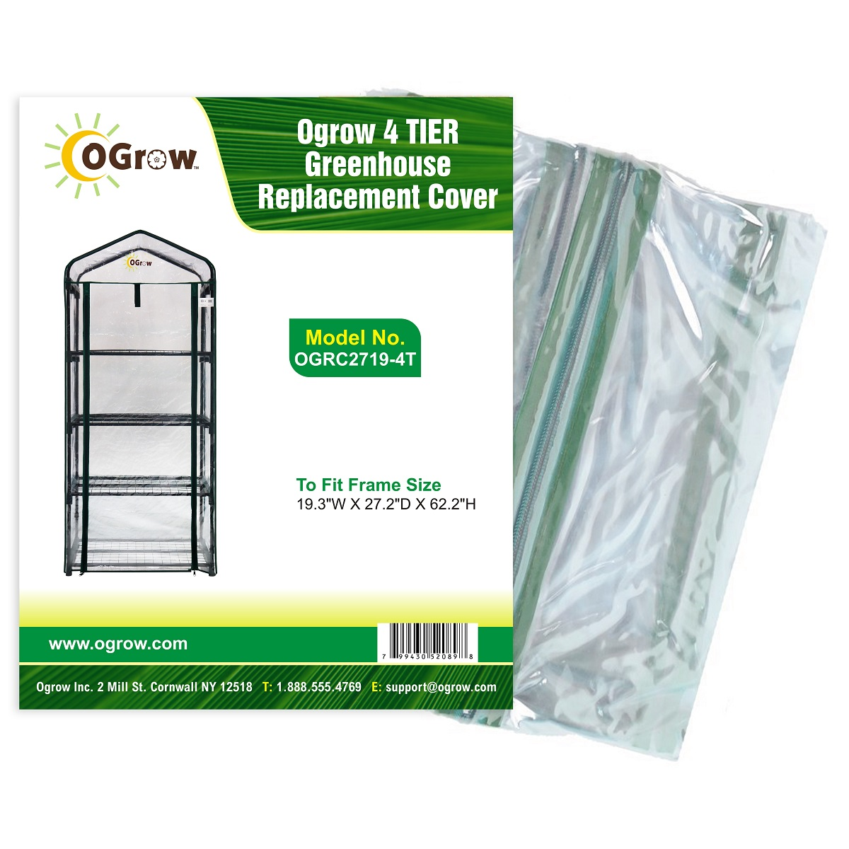 "4 TIER Greenhouse Replacement Cover To Fit Frame Size 19.3""W X 27.2""D X 62.2""H by KSH Brands"
