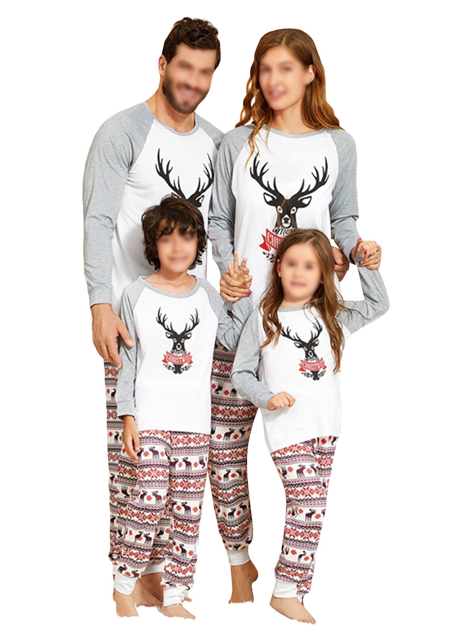 Stripes Christmas Family Matching Pyjamas Men Women Kids PJ Sets Xmas Sleepwear