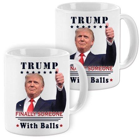 (Set Of 2) Donald Trump Finally Someone w/ Balls Coffee Mugs - 11oz - Donald Duck Coffee Cup