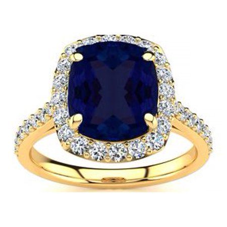 5 Carat Cushion Cut Sapphire And Halo Diamond Ring In 18k Yellow Gold