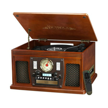 Victrola Wood 8-in-1 Nostalgic Bluetooth Record Player with USB Encoding and 3-speed Turntable -