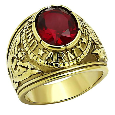 Military Army Mens Ring - Trustmark Mens 5.0ct Simulated Ruby USA Army Stainless Steel IP 14K Gold Military Signet Ring, Army G sz 13.0