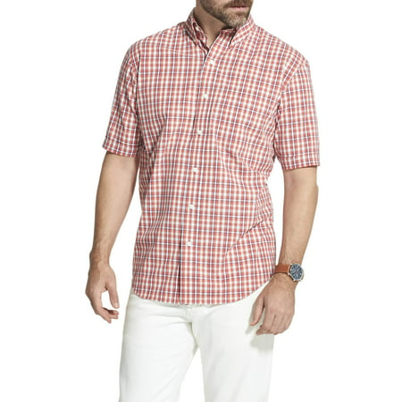 Arrow Men's Big and Tall Hamilton Poplin Plaid Short Sleeve Button Down Shirt