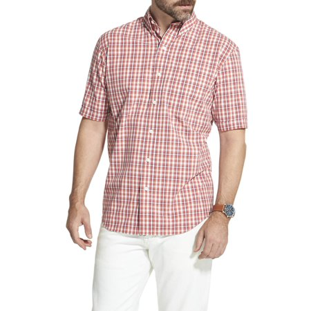 Arrow Men's Big and Tall Hamilton Poplin Plaid Short Sleeve Button Down Shirt Big One Satin Button