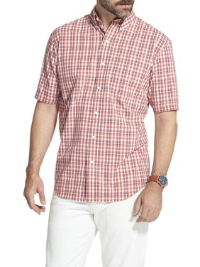 491577a8 Product Image Arrow Men's Big and Tall Hamilton Poplin Plaid Short Sleeve  Button Down Shirt
