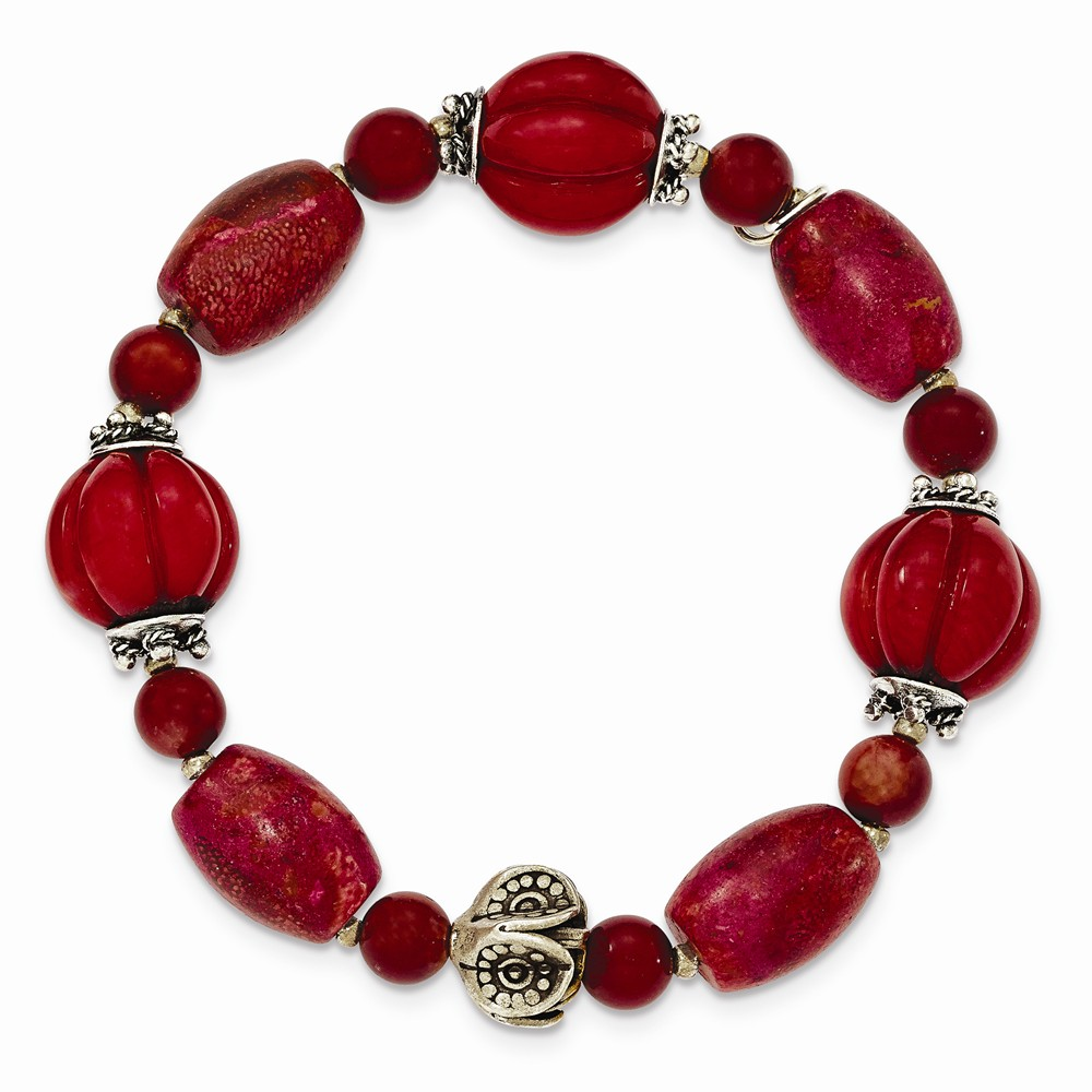 Sterling Silver Antiqued Beads & Red Coral Stretch Bracelet by Goldia