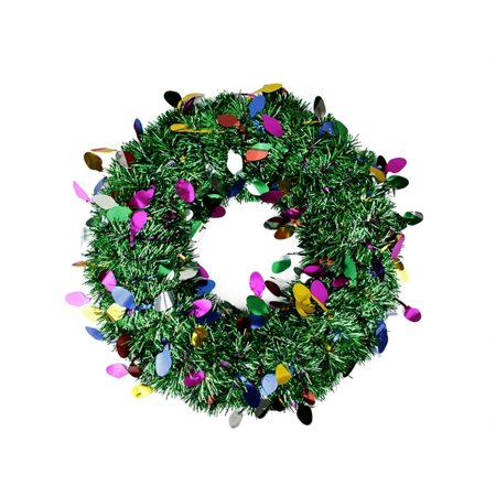 "Penn 19"" Festive Green Artificial Christmas Tinsel Wreath - Unlit"