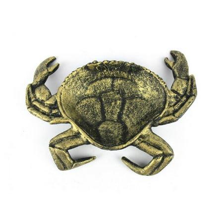 Antique Gold Cast Iron Crab Decorative Bowl 7
